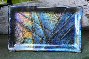 Fused Glass Dish - Iridescent on gray