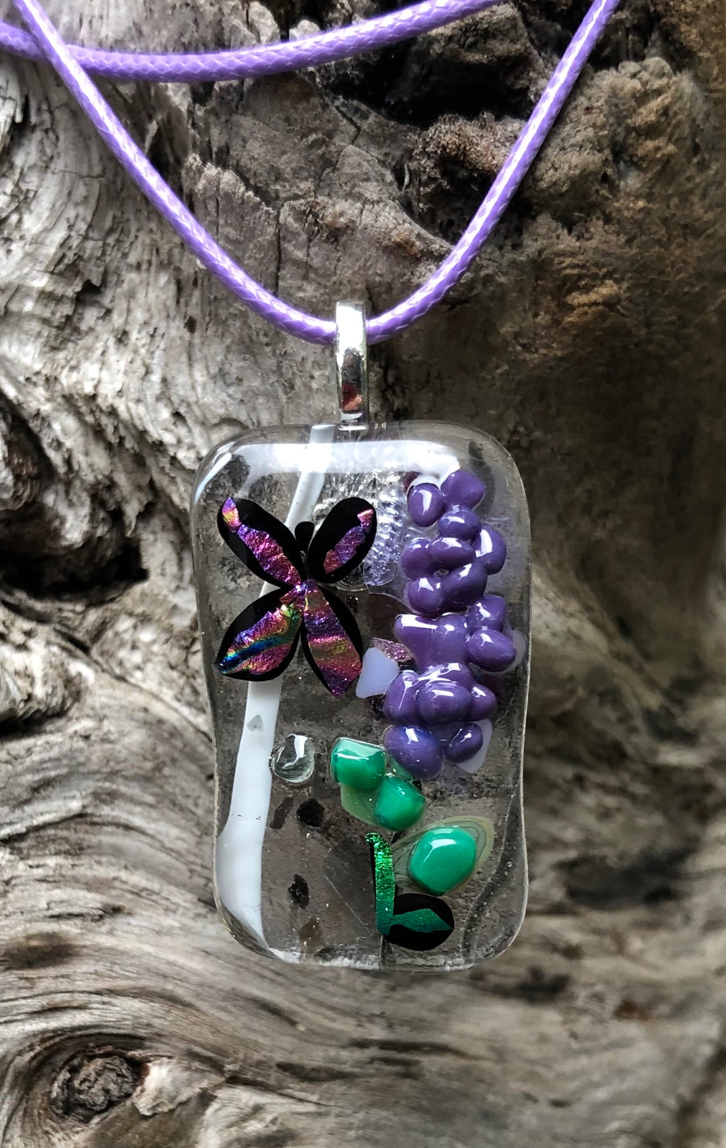 Lavender with Butterfly Fused Glass Pendant
