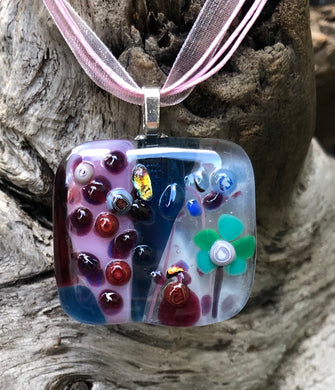 Rain Garden Fused Glass Pendant
