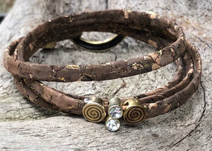 Leather Bracelet - Brown and Bronze Wrap