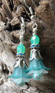 Turquoise and Aqua Tulip Style Earrings