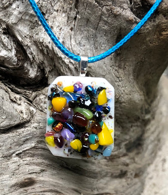 Multi colored Pixie Dust Fused Glass Pendant