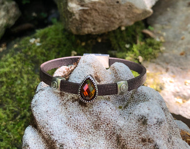Leather Bracelet - Brown with Amber Crystal