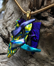 Load image into Gallery viewer, Dark Dichroic Cluster Fused Glass Pendant