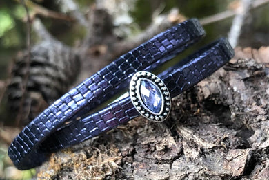 Leather Bracelet - Midnight Blue with Iolite