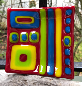 Contemporary Blocks Fused Glass Dish