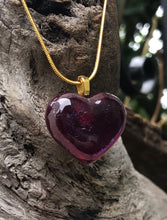 Load image into Gallery viewer, Red Iridescent Heart Fused Glass Pendant