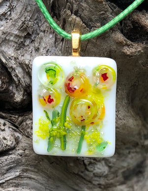 Field Blossoms Fused Glass Pendant