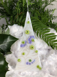 Holiday ornaments - White with green and lavender