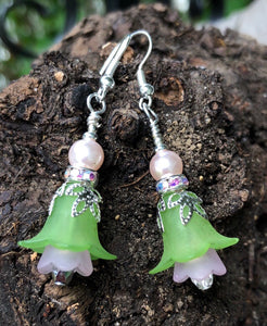 Green and Soft Pink Tulip Style Earrings