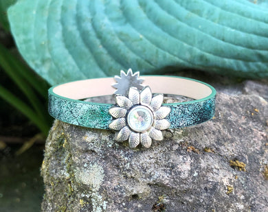 Leather Bracelet - Teal and Silver with Sunflowers