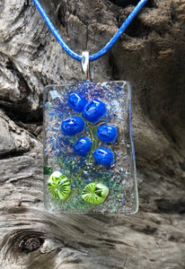 Stem of Bluebells Fused Glass Pendant
