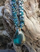 Load image into Gallery viewer, Kumihimo Necklace - Teal Gold White Agate