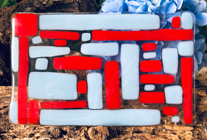 Fused Glass Red and Powder Blue Block Plate