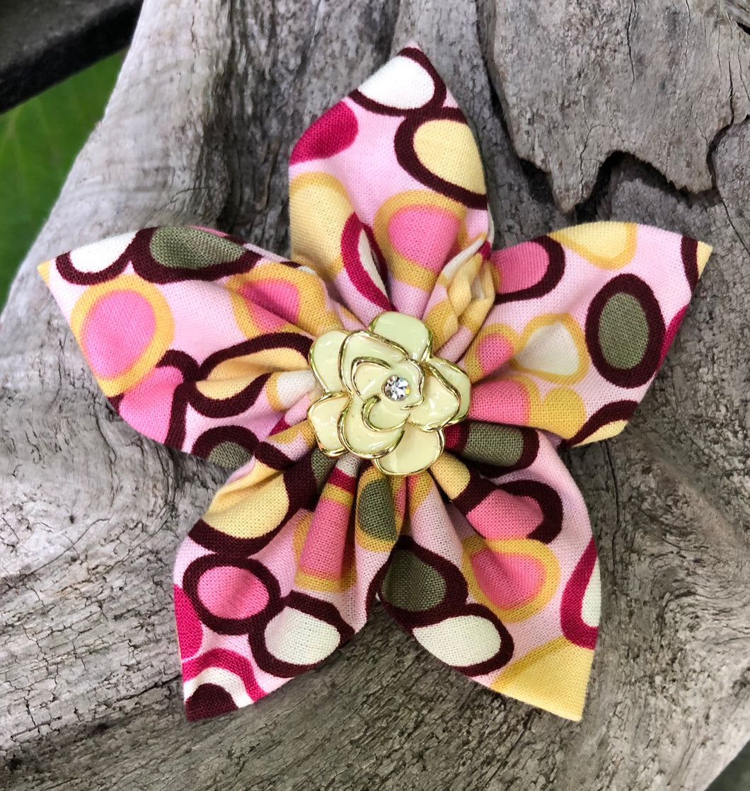 Fabric Flower - Brown Pink Yellow Olive