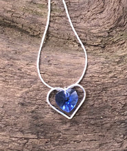 Load image into Gallery viewer, Fragile Heart Necklace - Swarovski Sapphire Crystal Choker