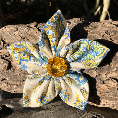Fabric Flower - Wheat And Blue