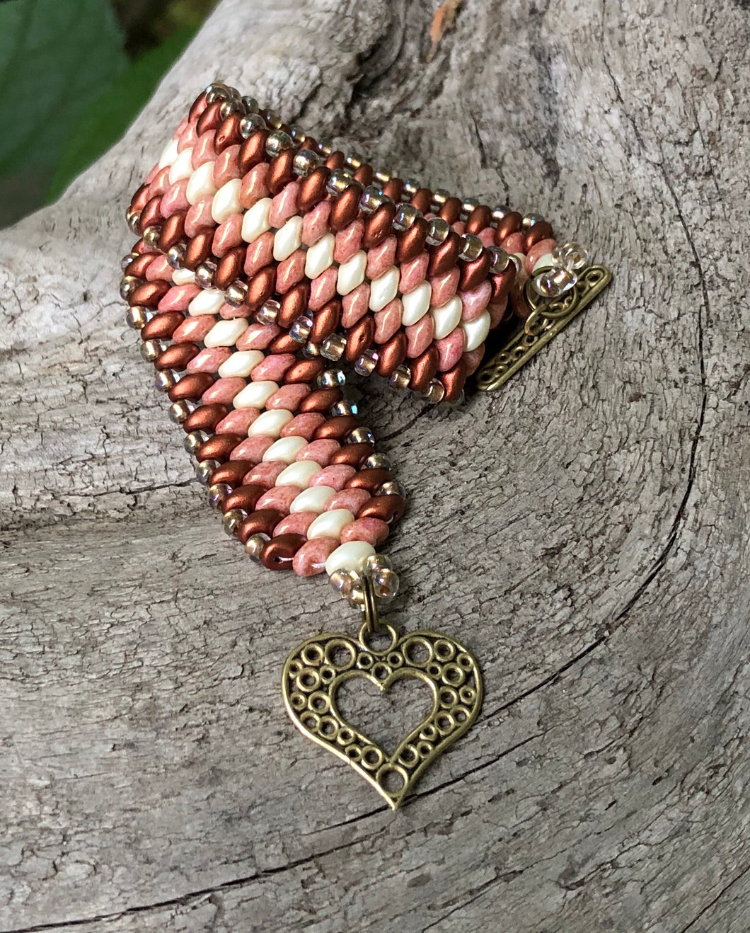 Snakeskin Bracelet - Copper Coral and Cream