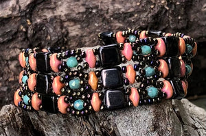 Beaded Bracelet - Black Coral and Turquoise Brocade