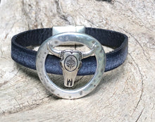 Load image into Gallery viewer, Leather Bracelet - Framed Longhorn on Weathered Navy leather