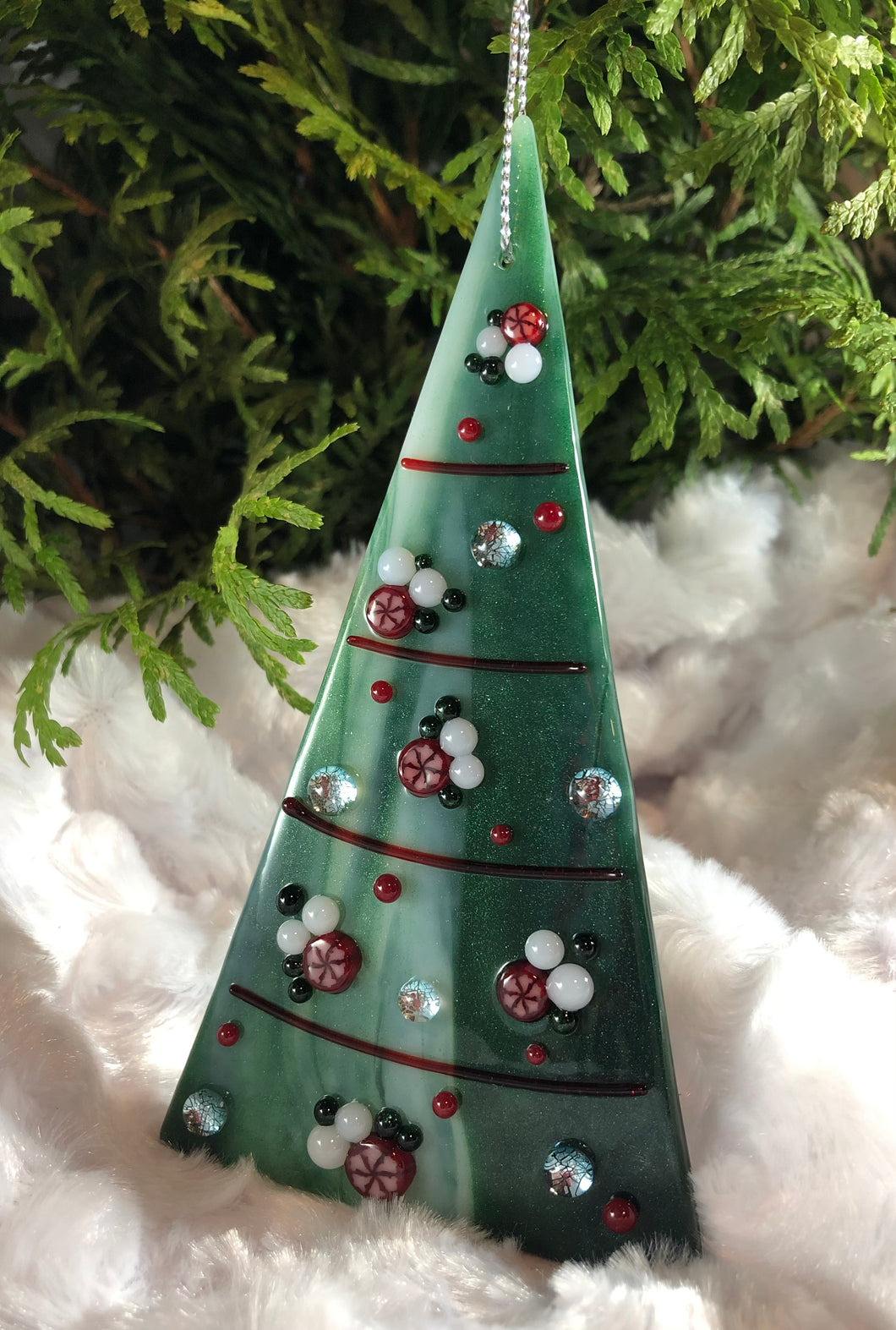 Holiday ornaments - Aventurine Streaky with Poinsettias