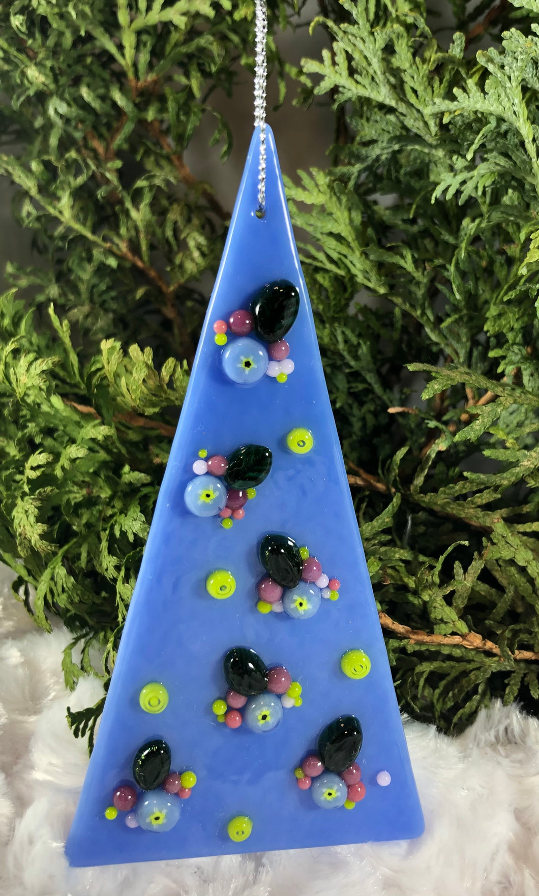 Holiday ornaments - Periwinkle with Flowers