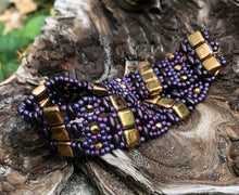 Load image into Gallery viewer, Beaded Bracelet - Purple and Gold Brocade