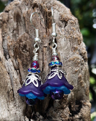 Purple and Blue Tulip Style Earrings