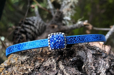 Leather Bracelet - Sparkly Royal Blue