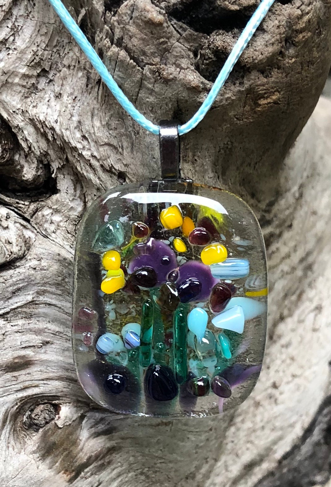 Buzzing Garden Fused Glass Pendant