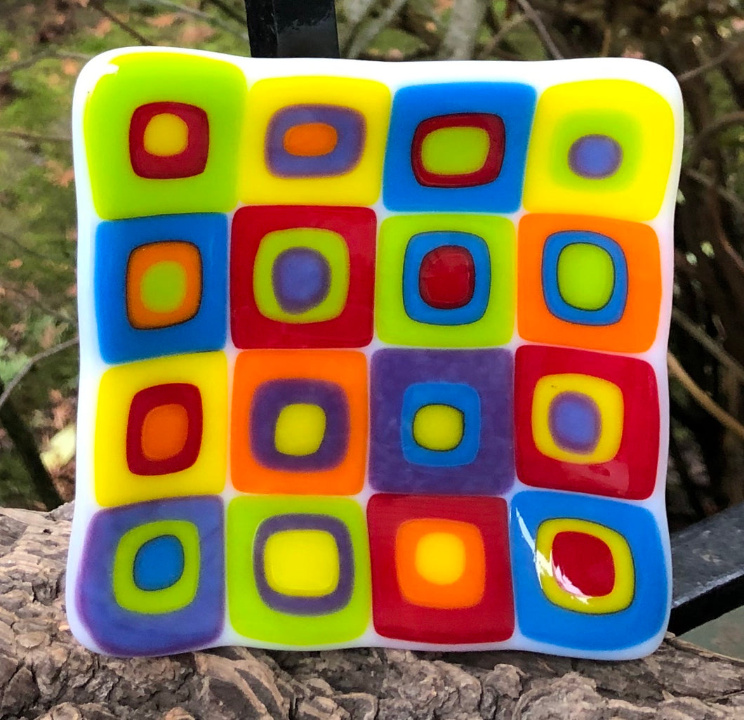 Square Cubes Fused Glass Dish