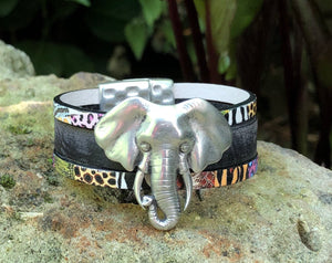 Leather Bracelet - Triple band with Elephant