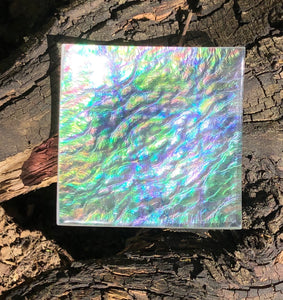 Clear Iridescent Fused Glass Dish