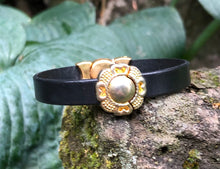 Load image into Gallery viewer, Leather Bracelet - Black with Hammered Gold Components