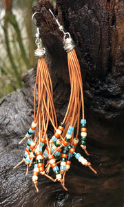 Cattails Leather Earrings - Santa Fe