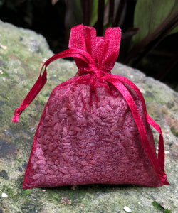 This Burgundy Organza Lavender Sachet is useful in diminishing stress, easily fits in a drawer, purse, gym bag, or locker and makes a unique gift. The contents of each sachet is Oregon lavender, and only lavender, thus there are no other fillers. Lavender has plenty of its own natural oils, so give it a gentle squeeze to slightly bruise the buds to draw out more fragrance. This sachet should not be heated or put into a microwave oven.