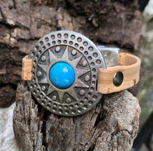 Load image into Gallery viewer, Leather Bracelet - Tribal in Turquoise