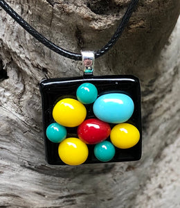 Colorful Bubbles Fused Glass Pendant
