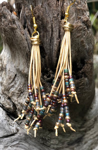 Cattails Leather Earrings - Baroque