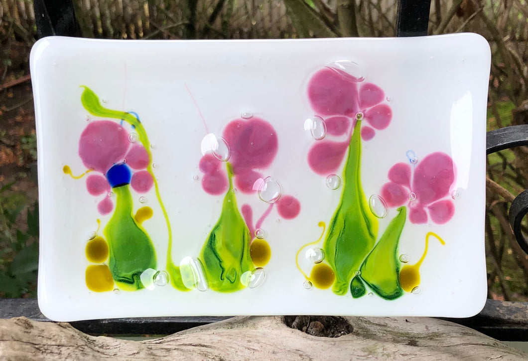 Fused Glass Floral Tray