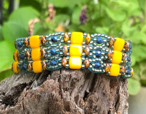 Beaded Bracelet - Bright Yellow and Blue Brocade