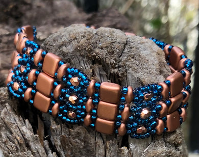 Beaded Bracelet - Brocade Copper and Zircon Blue