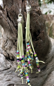 Cattails Leather Earrings - Frosted Spring
