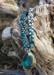 Kumihimo Necklace - Teal Gold White Agate