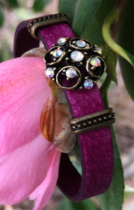 Leather Bracelet - Fuchsia with crystals