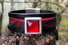 Load image into Gallery viewer, Leather Bracelet - Triple Band Red and Black