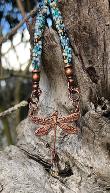 Kumihimo Necklace - Copper Dragonfly