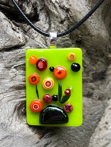 Poppies on a Rock Fused Glass Pendant