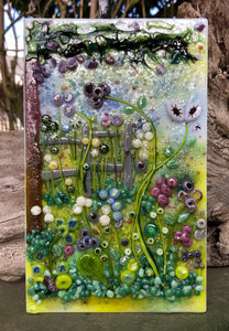 Spring Meadow Fused Glass Panel