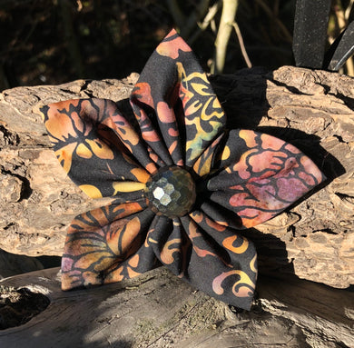 Fabric Flower - Black Brown Gold Batik